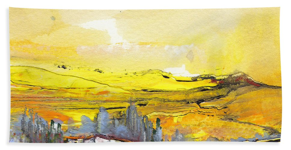 Watercolour Landscape Hand Towel featuring the painting Midday 10 by Miki De Goodaboom