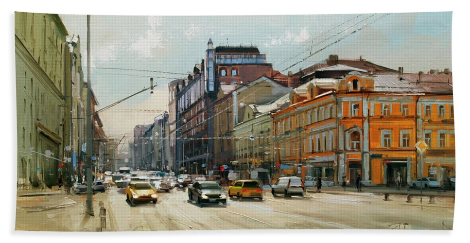 Spring Coolness Bath Towel featuring the painting Midday. Tver Stream. Tverskaya Zastava Square. by Alexey Shalaev