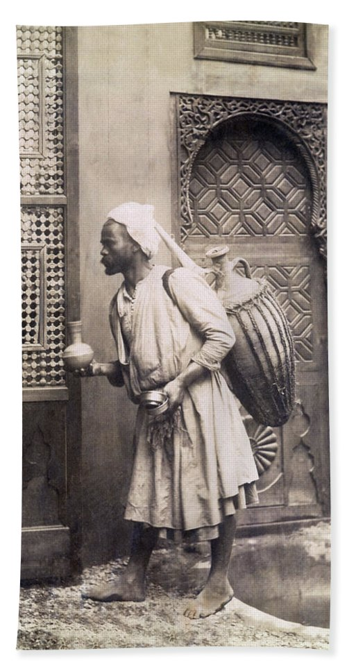 1 Person Hand Towel featuring the photograph Middle Eastern Street Vendor by Underwood Archives