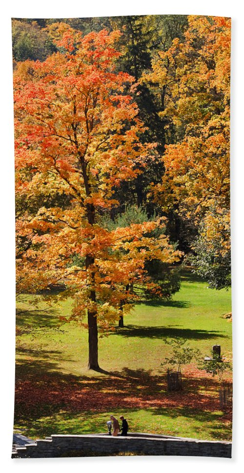 Travel Hand Towel featuring the photograph Middle Falls Viewpoint In Letchworth State Park by Louise Heusinkveld
