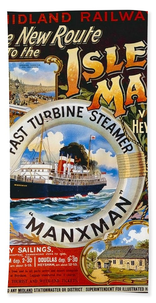 Midland Bath Towel featuring the painting Midland Railway, Steam Boat, Isle Of Man, Poster by Long Shot