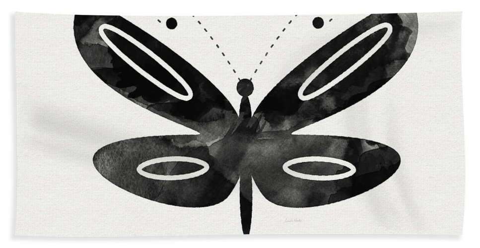Butterfly Hand Towel featuring the mixed media Midnight Butterfly 1- Art By Linda Woods by Linda Woods
