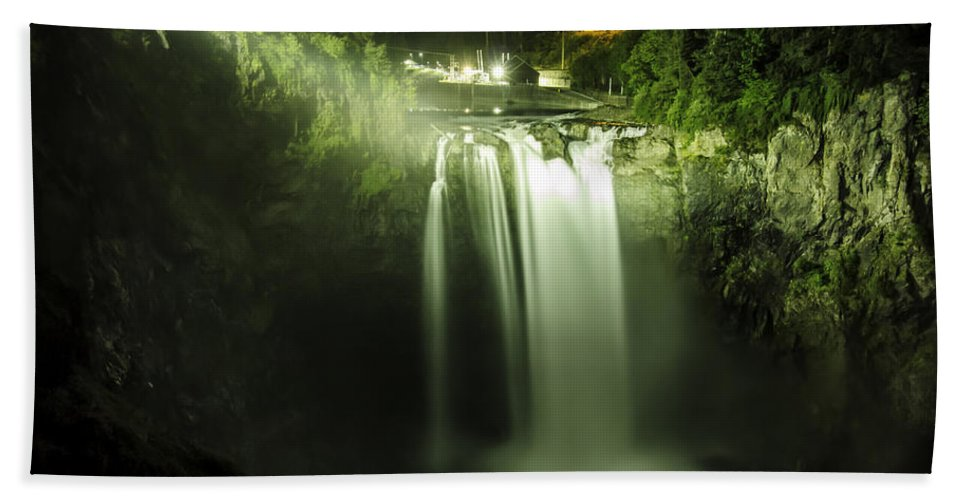 Snoqualmie Falls Hand Towel featuring the photograph Midnight Curtain by Ryan McGinnis
