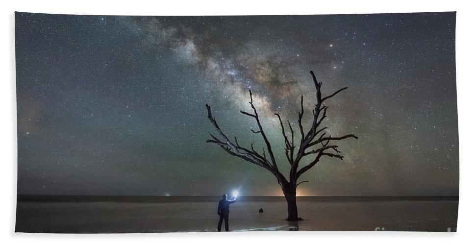 Botany Bay Milky Way Bath Sheet featuring the photograph Midnight Explorer At Botany Bay Beach by Michael Ver Sprill