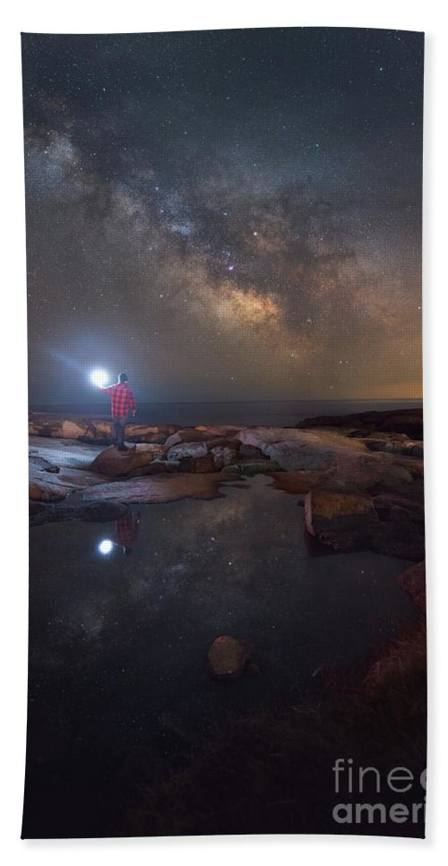 Midnight Explorer Hand Towel featuring the photograph Midnight Explorer Mirror Finish by Michael Ver Sprill