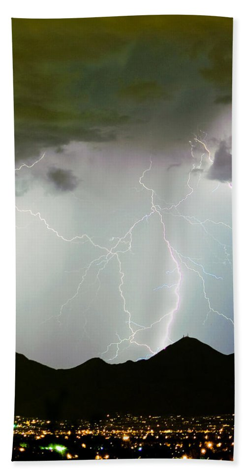 Lightning Hand Towel featuring the photograph Midnight Hour by James BO Insogna
