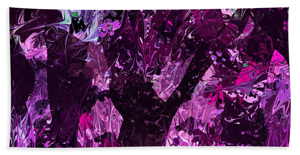 Abstract Bath Sheet featuring the digital art Midnight Incantations by Rachel Christine Nowicki