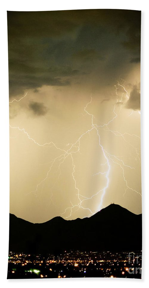 Arizona Lightning Storms Bath Sheet featuring the photograph Midnight Lightning Storm by James BO Insogna