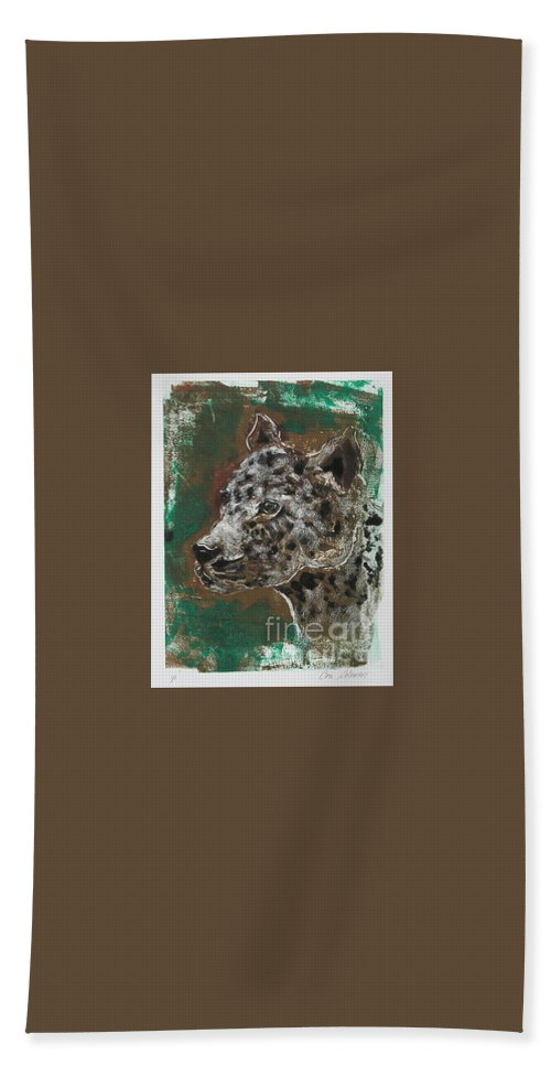 Monotype Bath Towel featuring the mixed media Midnight Prowler by Cori Solomon