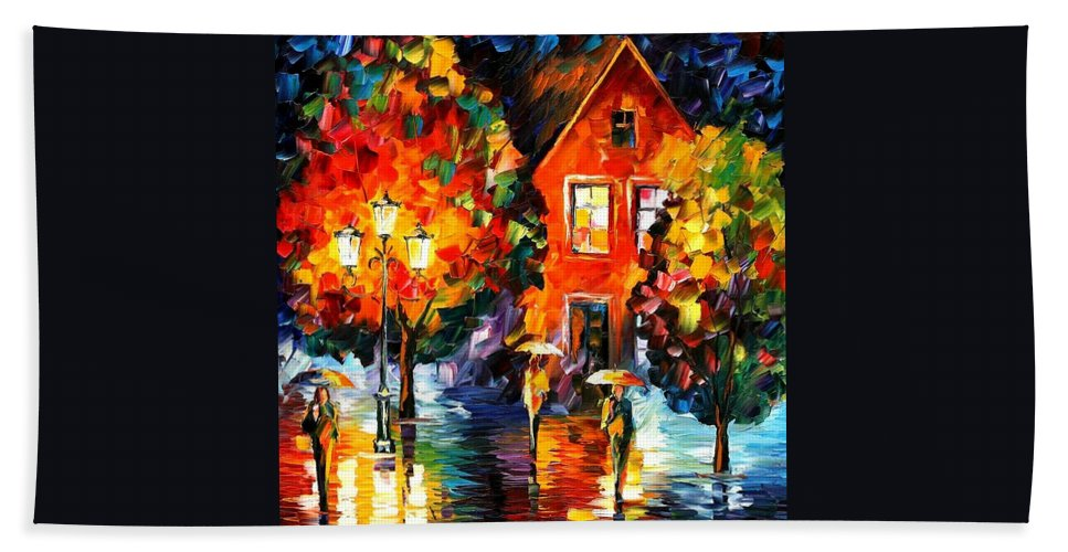Afremov Hand Towel featuring the painting Midnight Rain by Leonid Afremov