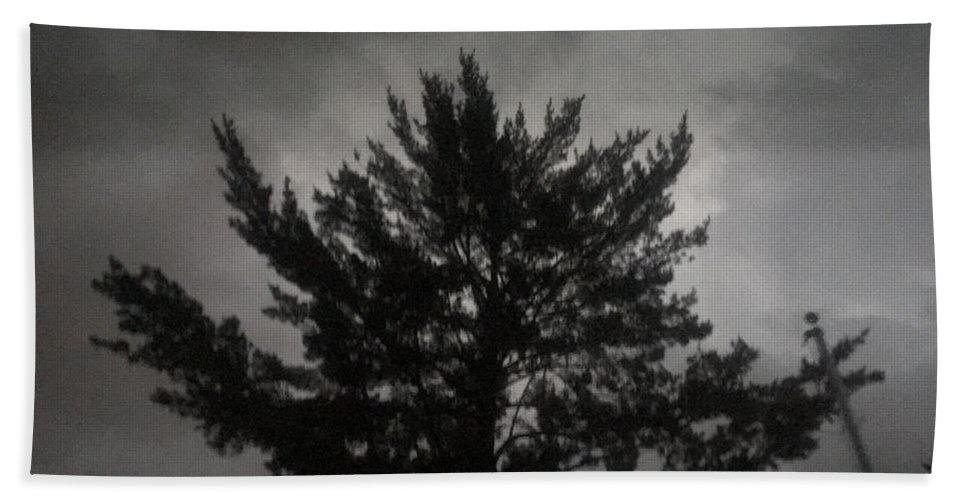 Midnight Hand Towel featuring the photograph Midnight Storm by Amy Lionheart