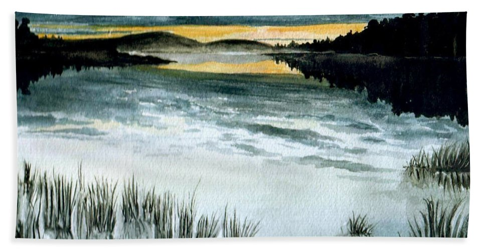 Watercolor Bath Towel featuring the painting Midnight Sun by Brenda Owen