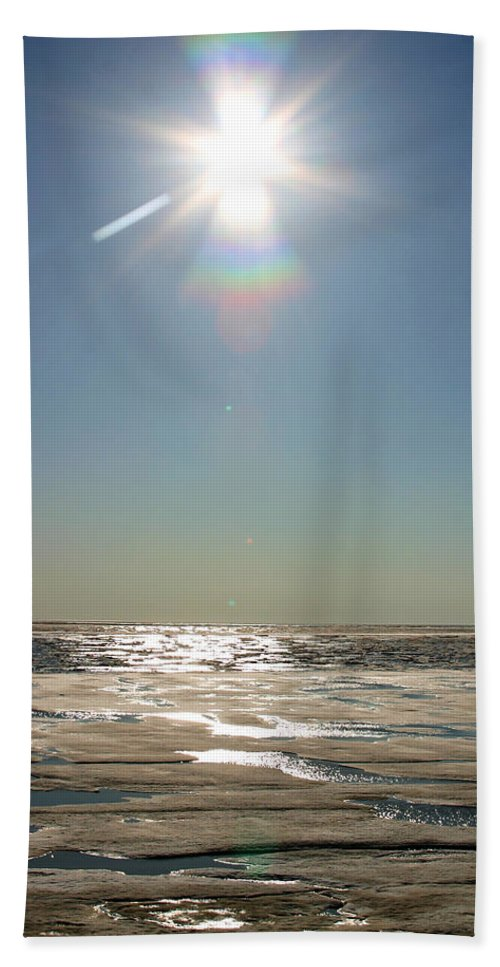 Arctic Bath Sheet featuring the photograph Midnight Sun Over The Arctic by Anthony Jones