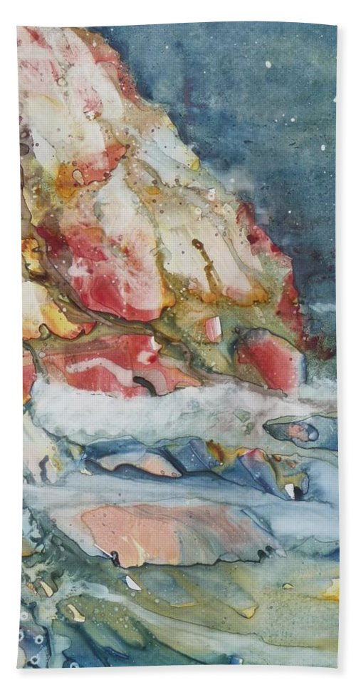 Abstract Bath Sheet featuring the painting Midnight Surf by Ruth Kamenev