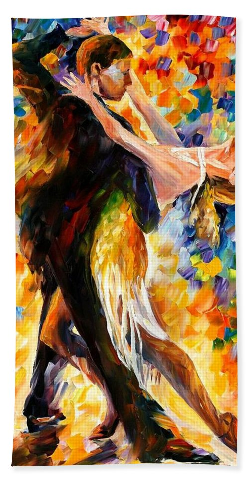 Afremov Hand Towel featuring the painting Midnight Tango by Leonid Afremov