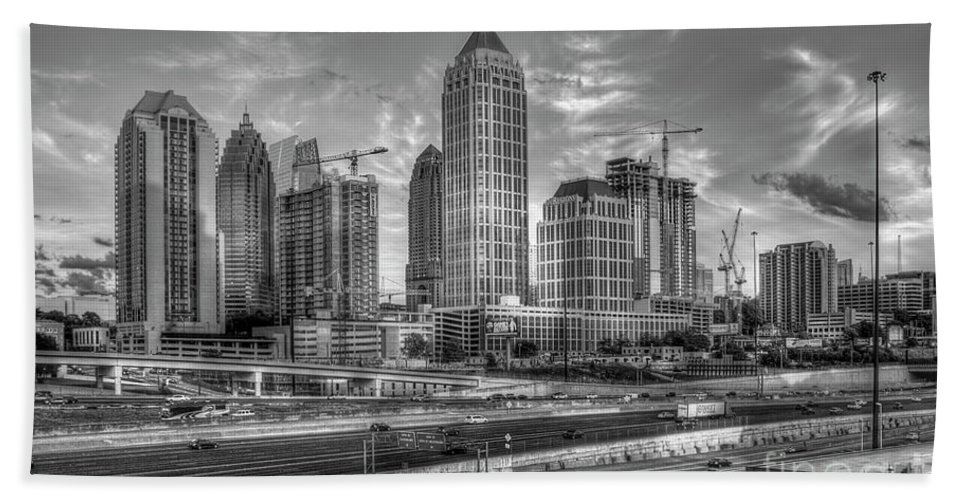 Reid Callaway Majestic Midtown Sunrise Art Bath Sheet featuring the photograph Midtown Atlanta Dusk B W Atlanta Construction Art by Reid Callaway