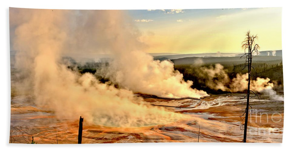 Grand Prismatic Hand Towel featuring the photograph Midway Geyser Basin Steamy Sunrise by Adam Jewell