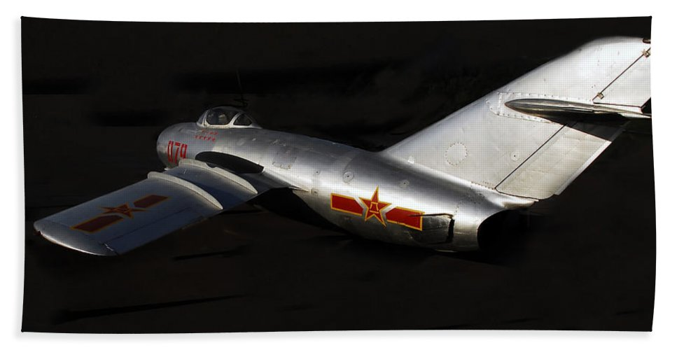 Mig Fighter Jet Bath Sheet featuring the photograph MiG by David Lee Thompson