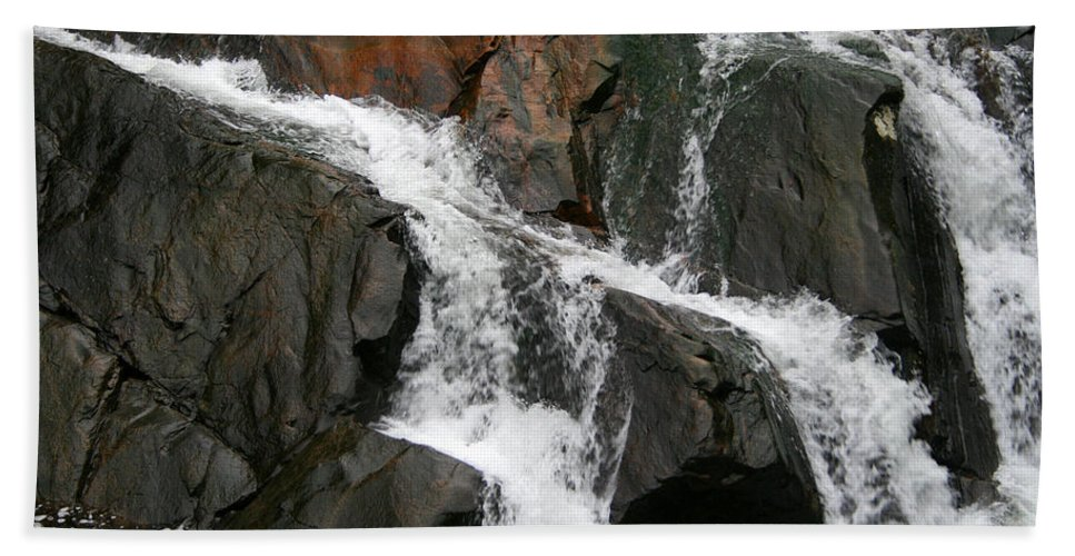 Water Waterfall Rush Rushing Cold River Creek Stream Rock Stone Wave White Wet Hand Towel featuring the photograph Might by Andrei Shliakhau