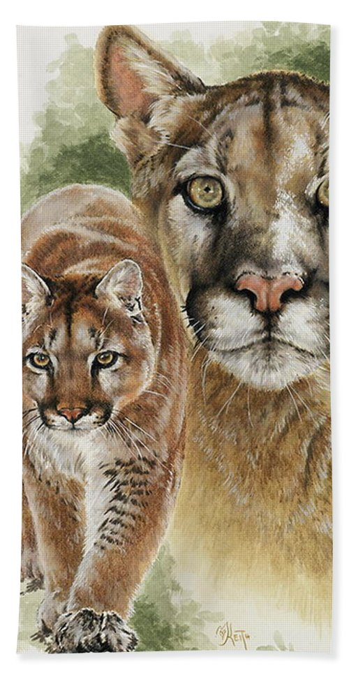 Cougar Hand Towel featuring the mixed media Mighty by Barbara Keith