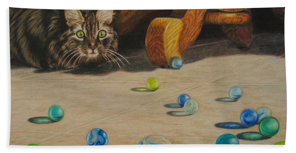 Cats Bath Sheet featuring the drawing Mighty Hunter by Karen Ilari