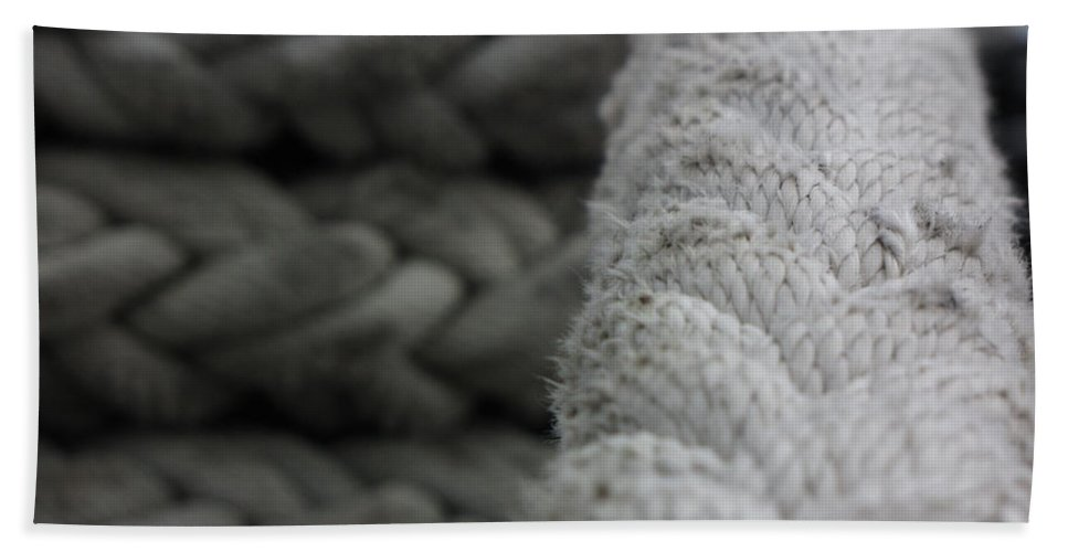 Mighty Missouri Bath Sheet featuring the photograph Mighty Mo Anchor Rope by Sarah Houser