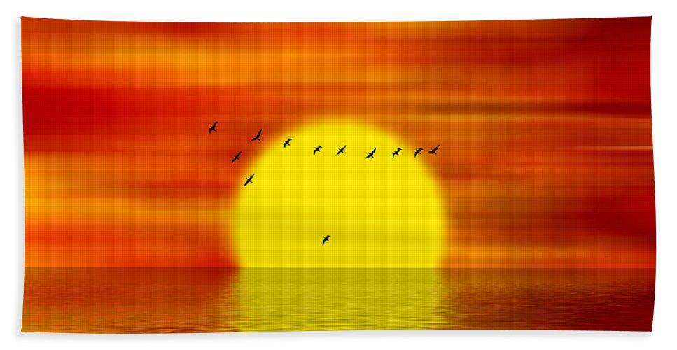 Sunset Bath Sheet featuring the digital art Migrating Birds by Michal Boubin