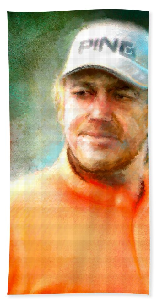 Golf Champion Bath Sheet featuring the painting Miguel Angel Jimenez by Miki De Goodaboom
