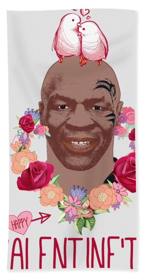 Mike Tyson Bath Sheet featuring the digital art Mike Tyson Inspired Valentines Happy Valentine'th Day by Robert Kelly