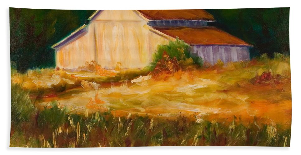 Barn Hand Towel featuring the painting Mike's Barn by Shannon Grissom