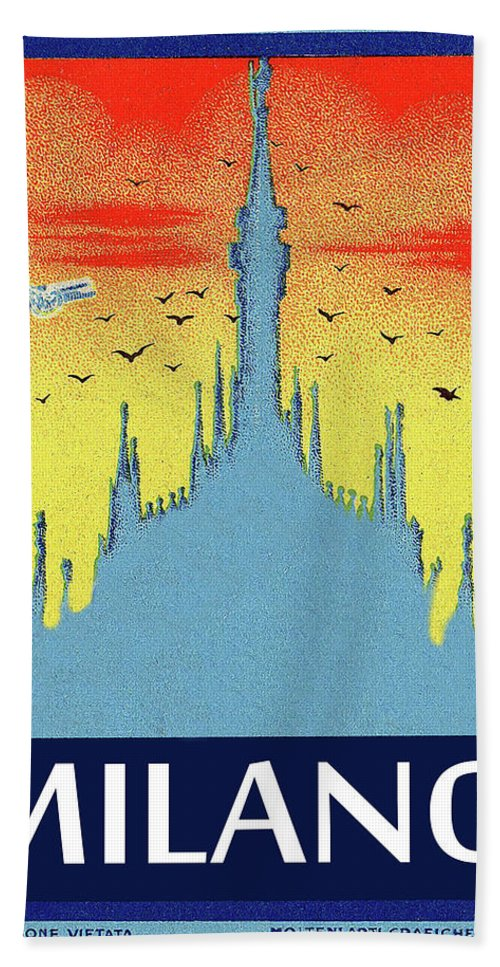 Milan Cathedral Hand Towel featuring the painting Milan Cathedral, Italy by Long Shot