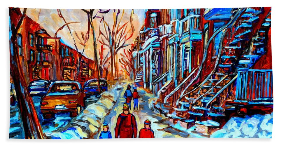 Montreal Hand Towel featuring the painting Mile End Montreal Neighborhoods by Carole Spandau