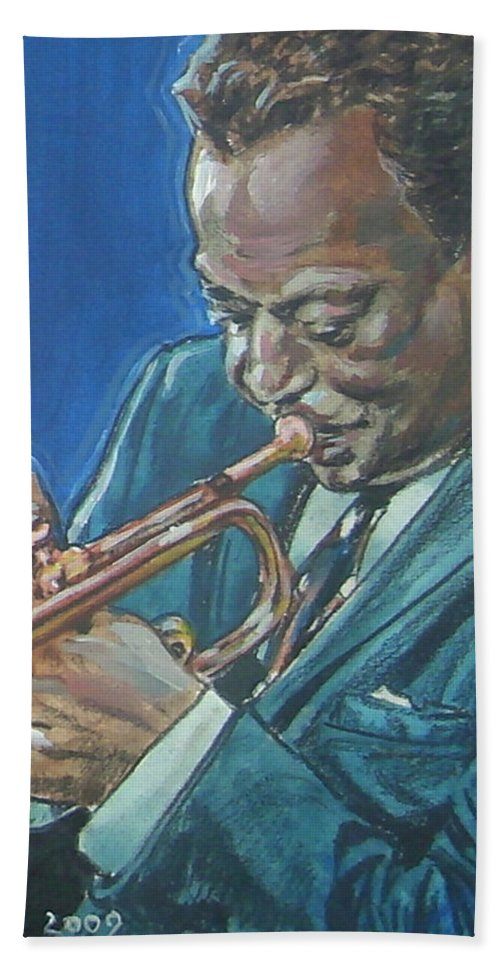 Miles Davis Hand Towel featuring the painting Miles Davis by Bryan Bustard