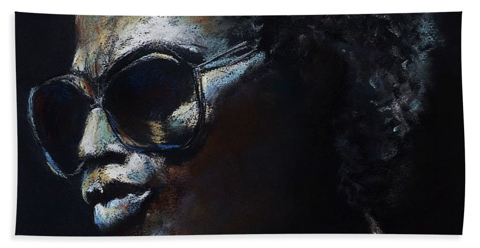 Miles Davis Bath Towel featuring the painting Miles Davis by Frances Marino