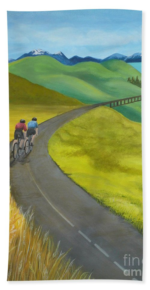 Bicycles Bath Sheet featuring the painting Miles To Go by Kris Crollard