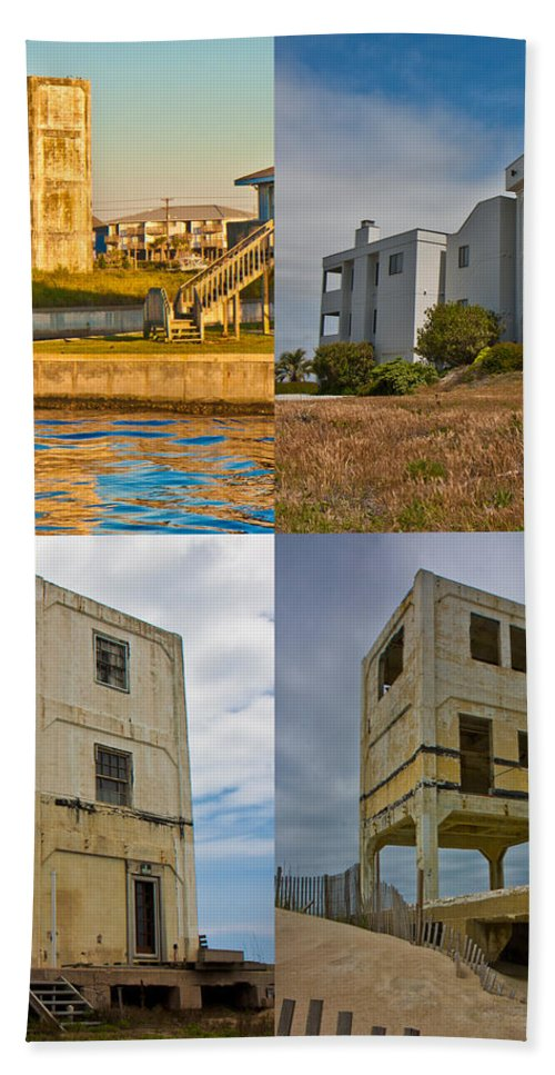 Topsail Bath Sheet featuring the photograph Military Observation Towers Operation Bumblebee by Betsy Knapp