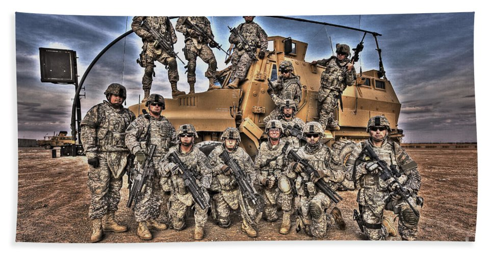 Camp Speicher Bath Sheet featuring the photograph Military Police Pose For This Hdr Image by Terry Moore