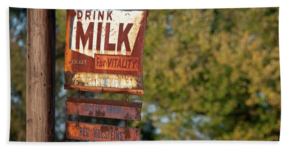 Milk Hand Towel featuring the photograph Milk Sign by David Arment