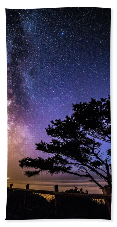 Night Photography Hand Towel featuring the photograph Milky Way In Newport, Or by George Herbert