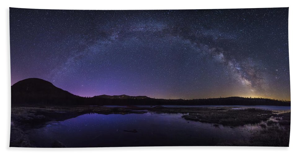 Milky Hand Towel featuring the photograph Milky Way Over Lonesome Lake by Chris Whiton