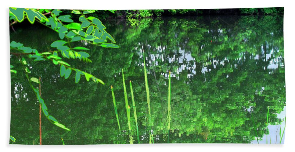 Black Creek Bath Sheet featuring the photograph Mill Pond Reflections by Ian MacDonald