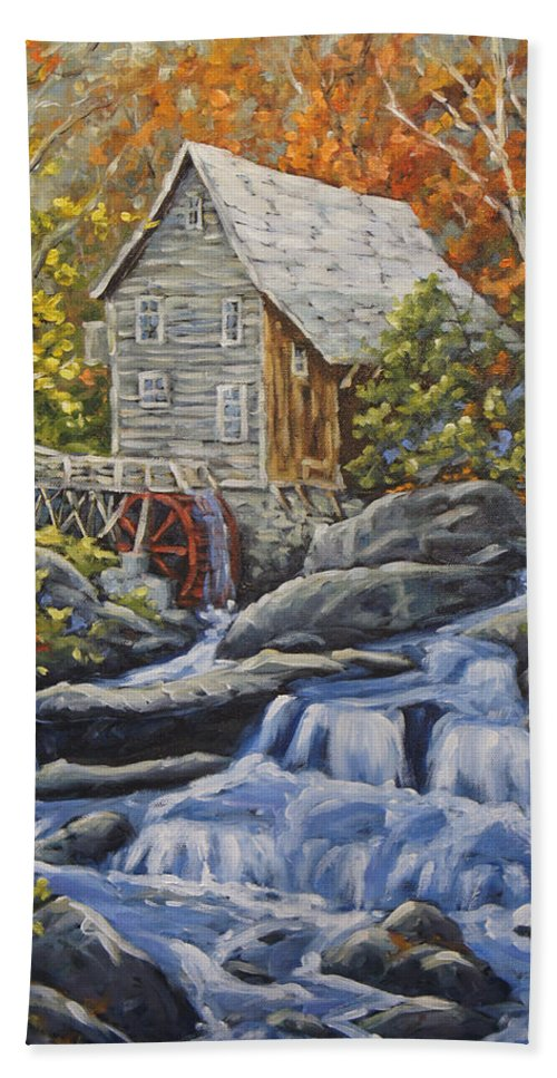 Art Bath Sheet featuring the painting Mill Scene 03 by Richard T Pranke