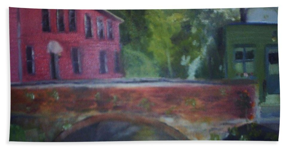 Mill Street Bath Towel featuring the painting Mill Street Plein Aire by Sheila Mashaw