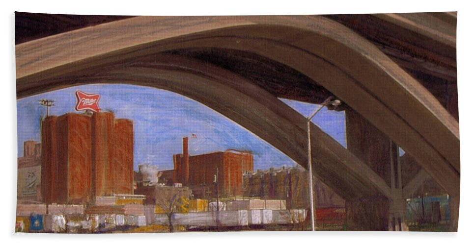 Mixed Media Bath Towel featuring the mixed media Miller Brewery Viewed Under Bridge by Anita Burgermeister