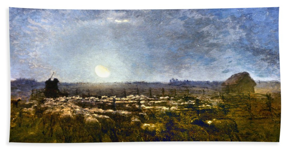 1861 Bath Sheet featuring the photograph Millet: Sheep By Moonlight by Granger