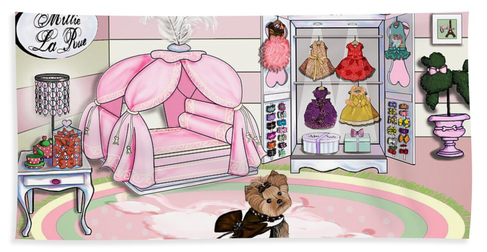Millie Bath Sheet featuring the mixed media Millie Larue's French Room by Catia Lee