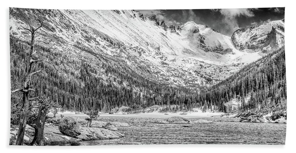 Colorado Hand Towel featuring the photograph Mills Lake Monochrome by Eric Glaser
