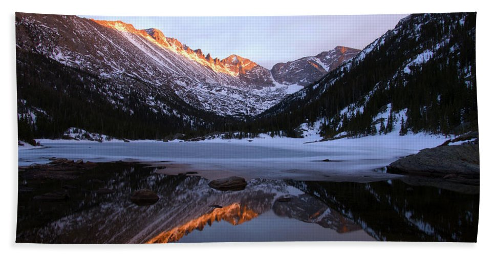Spring Bath Sheet featuring the photograph Spring Sunset At Mill's Lake In Rocky Mountain National Park, Colorado, Usa by Stephanie Gilronan