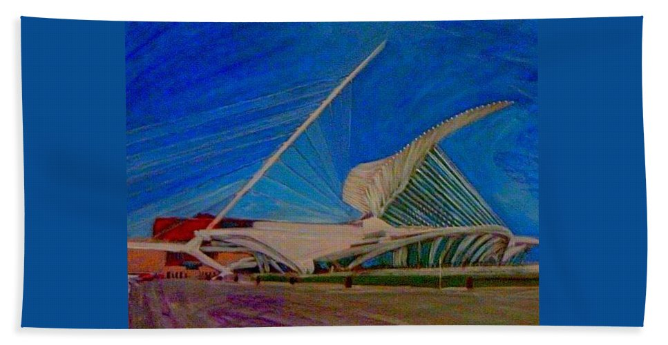 Mam Hand Towel featuring the mixed media Milwaukee Art Museum by Anita Burgermeister