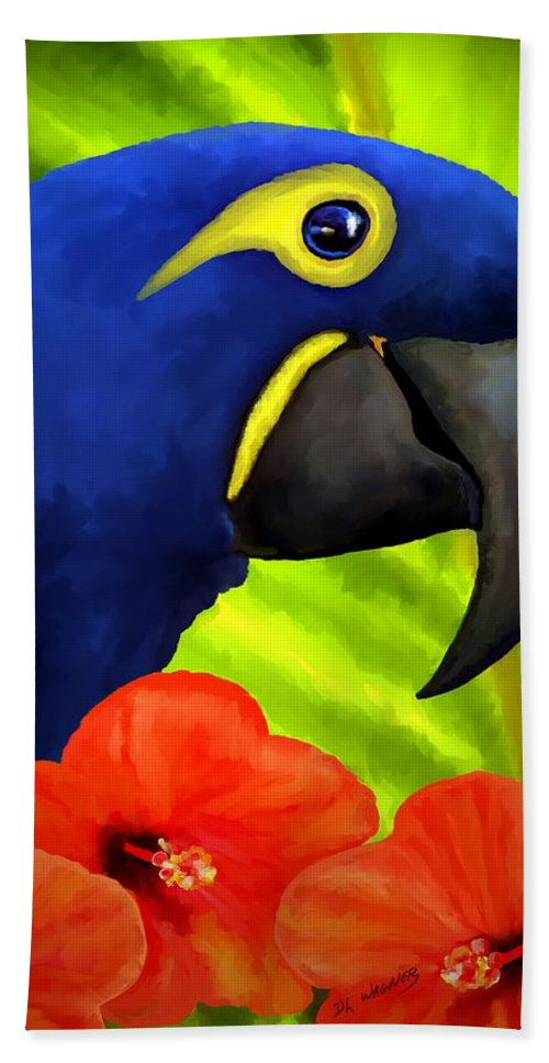 Hyacinth Macaw Hand Towel featuring the painting Mimi by David Wagner